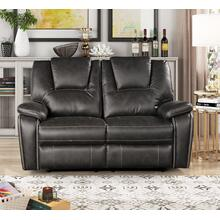 8086 GRAY Manual Recliner Air Leather Loveseat