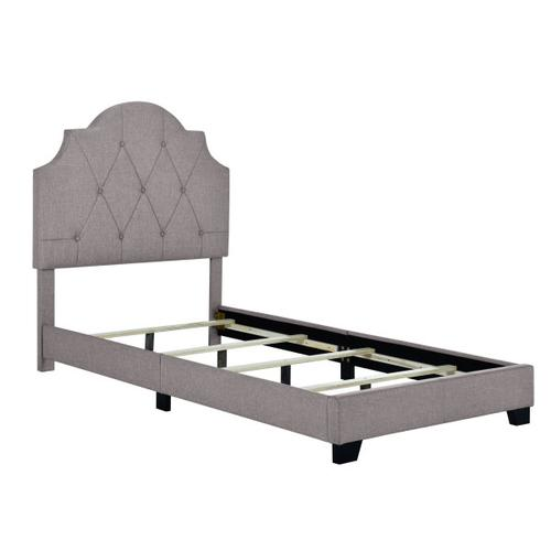 Saddle Tufted Twin Upholstered Bed in Smoke Gray