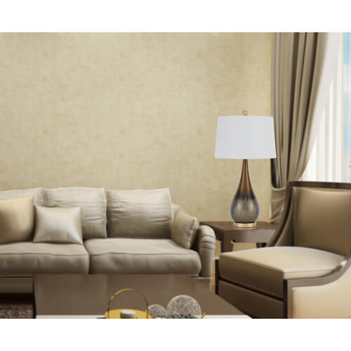 Cal Lighting & Accessories - 150W 3 way Carmi metal table lamp with hardback taper drum fabric shade