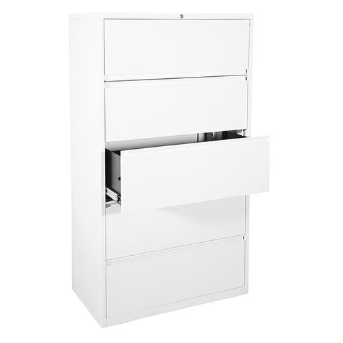 """36"""" Wide 5 Drawer Lateral File With Core-removable Lock & Adjustable Glides"""