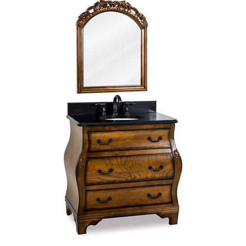 "34"" vanity with a rich Walnut burled finish and hand-carved botanical details with preassembled top and bowl."