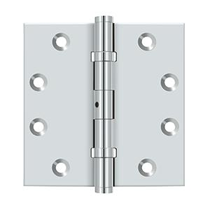 "4-1/2"" x 4-1/2"" Square Hinges, Ball Bearings - Polished Chrome"
