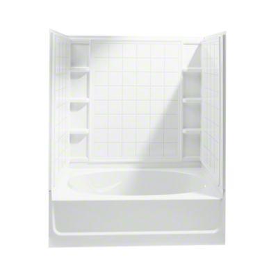 """Ensemble™, Series 7110, 60"""" x 36"""" x 72"""" Tile Bath/Shower - Right-hand Drain - White"""