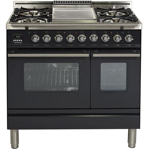 Ilve - Professional Plus 36 Inch Dual Fuel Natural Gas Freestanding Range in Matte Graphite with Chrome Trim