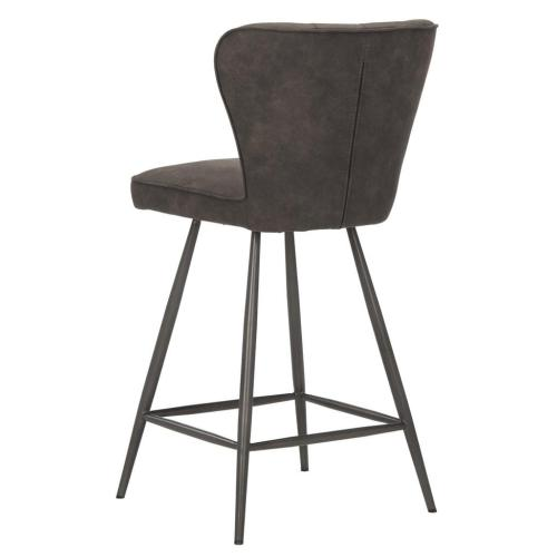 Ashby Mid Century Modern Leather Tufted Swivel Counter Stool - Grey / Black