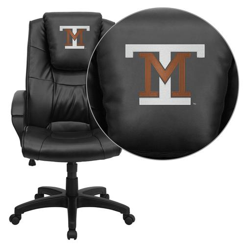 Montana Tech of the University of Montana Orediggers Embroidered Black Leather Executive Office Chair