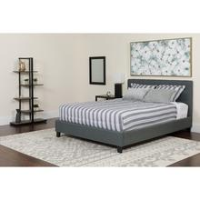 Chelsea Full Size Upholstered Platform Bed in Dark Gray Fabric with Memory Foam Mattress