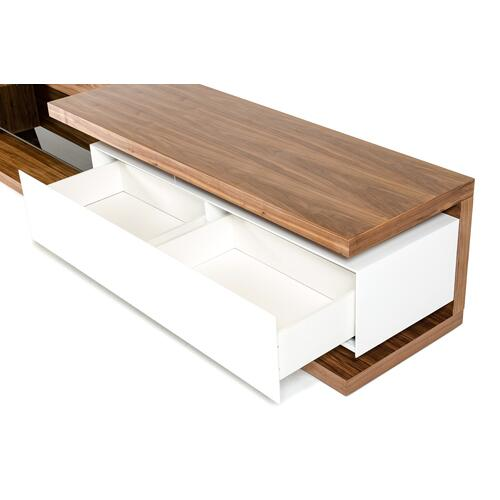 Modrest Jefferson Low Modern Walnut & White TV Unit