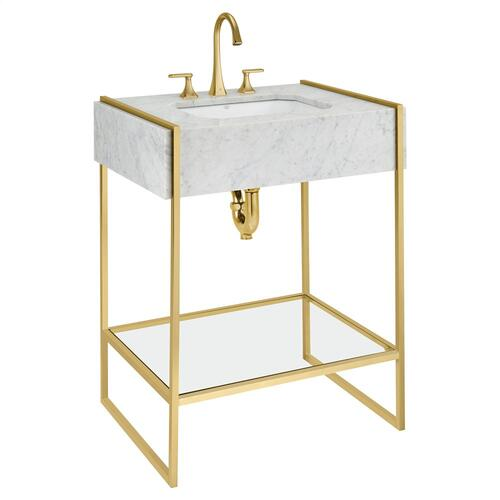 Belshire Console Frame With Glass Shelf - Satin Brass