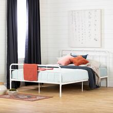 Metal Platform Bed with headboard - Pure White