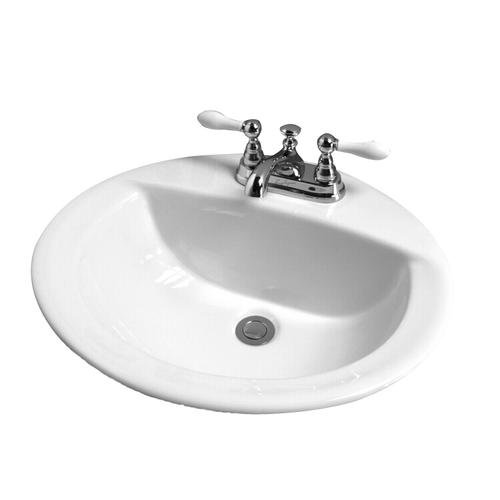 Jessica Oval Drop-In Basin - 1 Hole - White
