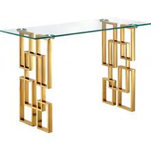 """See Details - Pierre Gold Console Table - 48"""" W x 14"""" D x 30"""" H"""