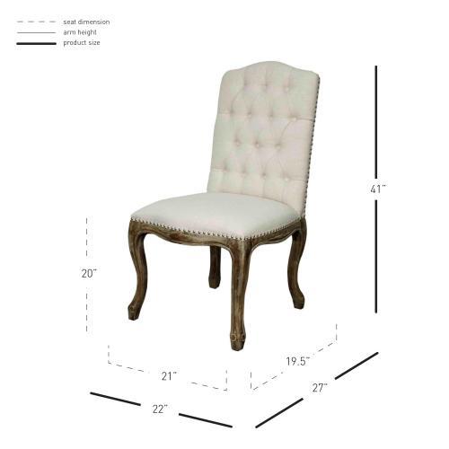 York Fabric Chair Drift Wood Legs, Cereal