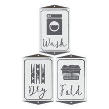 "Black & White ""Wash, Dry, Fold"" Laundry Embossed Wall Sign (12 pc. ppk.)"
