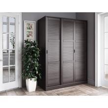 5676 - 100% Solid Wood 3-Sliding Door Wardrobe, Java