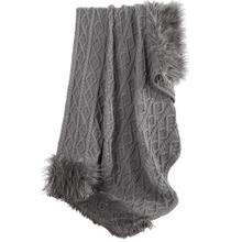 Nordic Cable Knit & Mongolian Fur Throw Blanket - Gray