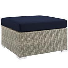 Repose Sunbrella® Fabric Outdoor Patio Ottoman in Light Gray Navy