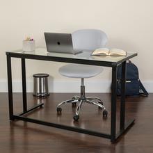 Product Image - Glass Desk with Black Pedestal Metal Frame