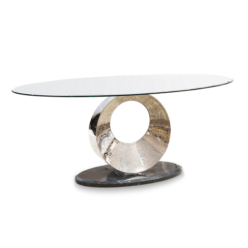 Pietro Oval Dining Table w/Glass Top, 2pc