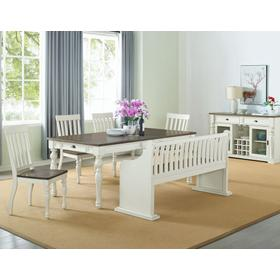 Joanna 6 Piece Bench Dining Set(Table, Bench with Back & 4 Side Chairs)