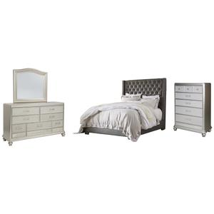 Ashley - King Upholstered Bed With Mirrored Dresser and Chest