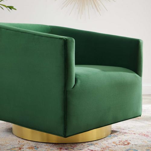 Modway - Twist Accent Lounge Performance Velvet Swivel Chair in Gold Emerald