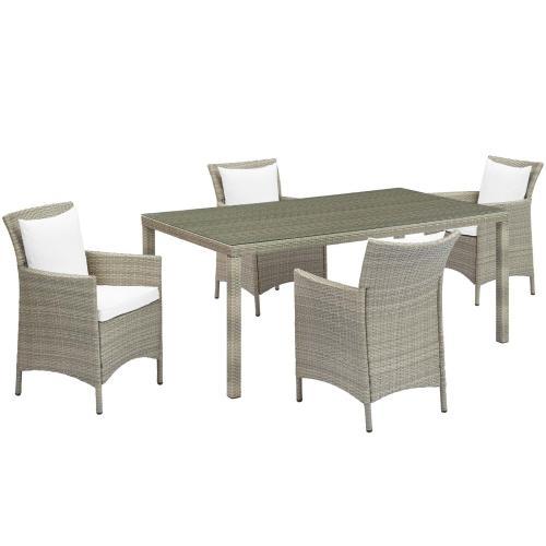 Conduit 5 Piece Outdoor Patio Wicker Rattan Dining Set in Light Gray White