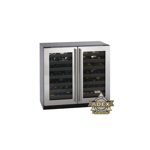"""U-Line - Stainless Double Door, lock model Modular 3000 Series / 36"""" Wine Captain® /Dual Zone Convection Cooling System"""