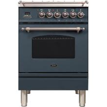 Nostalgie 24 Inch Dual Fuel Natural Gas Freestanding Range in Blue Grey with Bronze Trim