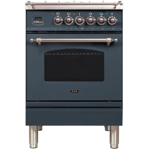 Product Image - Nostalgie 24 Inch Dual Fuel Natural Gas Freestanding Range in Blue Grey with Bronze Trim