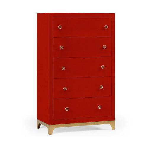 Tall chest with blazer buttons (Lipstick/Gold)