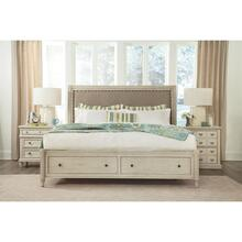 Huntleigh - Full/queen Sleigh Upholstered Headboard - Vintage White Finish