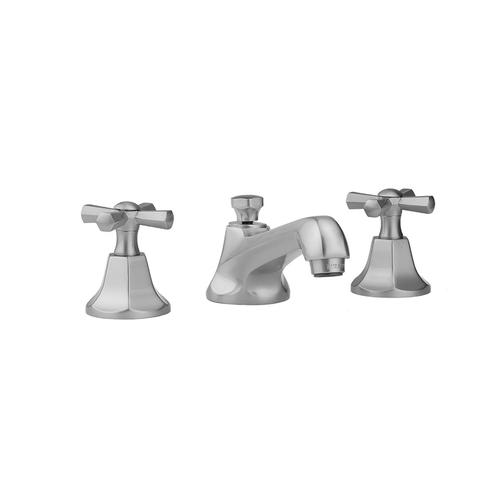 Jaclo - Satin Chrome - Astor Faucet with Hex Cross Handles & Fully Polished & Plated Pop-Up Drain