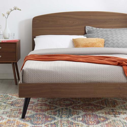 Bronwen Twin Wood Platform Bed in Walnut