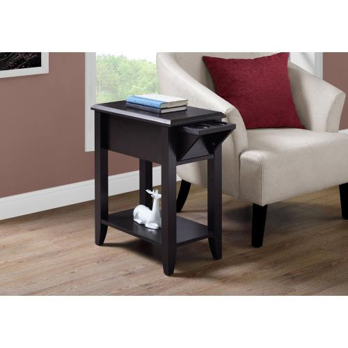 """ACCENT TABLE - 23""""H / ESPRESSO WITH A GLASS HOLDER"""