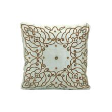 Pewter Silk Embroidered Pillow
