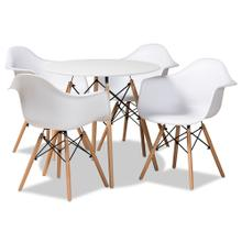 See Details - Baxton Studio Galen Modern and Contemporary White Finished Polypropylene Plastic and Oak Brown Finished Wood 5-Piece Dining Set