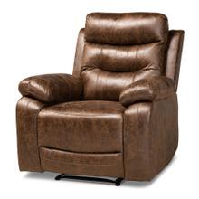See Details - Baxton Studio Beasely Modern and Contemporary Distressed Brown Faux Leather Upholstered Recliner