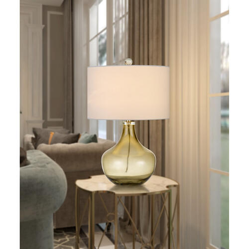 150W Logan Glass Table Lamp With Drum Hardback Fabric Shade