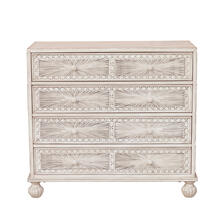 See Details - Traditional Grey Hand Painted Four Drawer Accent Storage Chest