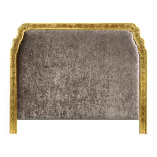 US Queen Gilded & glomise Headboard, Upholstered in Truffle Velvet
