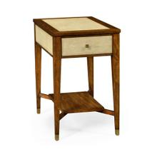 Ivory shagreen rectangular side table with drawer