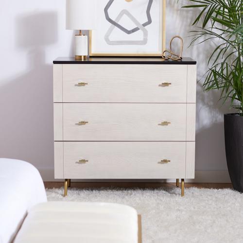 Genevieve 3 Drawer Dresser - Black / White Washed