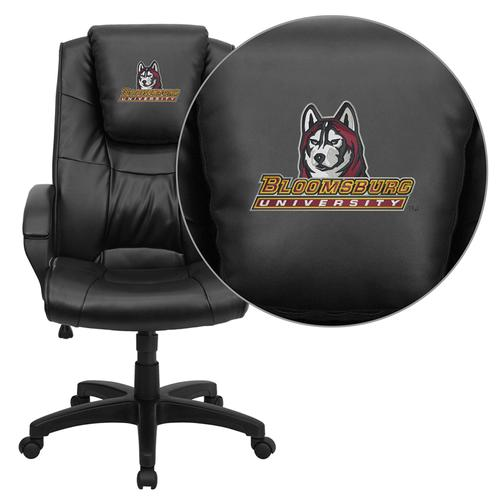 Bloomsburg University Huskies Embroidered Black Leather Executive Office Chair