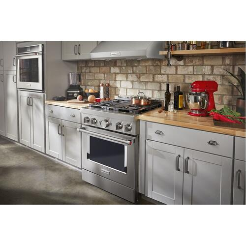 KitchenAid® 30'' Smart Commercial-Style Gas Range with 4 Burners - Heritage Stainless Steel