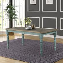 Prato Blue and Brown Two-Tone Finish Wood Dining Table