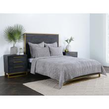 Bari Velvet Gray 4Pc King Quilt Set