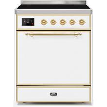 Majestic II 30 Inch Electric Freestanding Range in White with Brass Trim