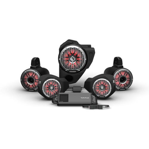 Rockford Fosgate - Ride Command® 3-Way Interface, 1500 Watt, Front Color Optix™ Speaker, Subwoofer & Rear Horn Speaker Kit for Select Polaris® RZR® Models (Gen-3)