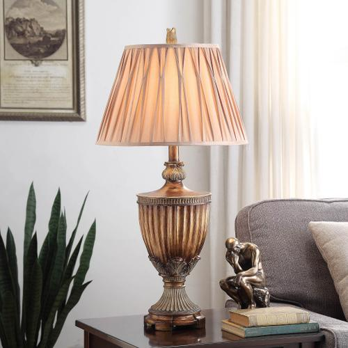 Product Image - Sienna Bronze Table Lamp with Fluted Detailing Cream Pinch Pleat Shade